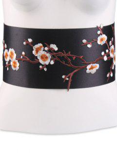 Flowers Branch Embroidered Chinoiserie Fabric Corset Belt - Orange