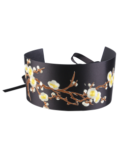 Flores De Rama Bordada Chinoiserie Banda Cinturón Corset - Amarillo