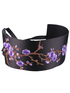 Flowers Branch Embroidered Chinoiserie Fabric Corset Belt - Purple