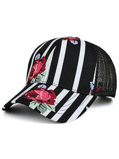 Mesh Spliced Rose Striped Baseball Cap - Black