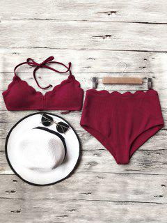 Halter Scalloped High Waisted Bikini Set - Burgundy M
