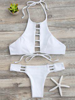 Ladder Cutout Halter Bathing Suit - White M