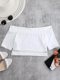 Off Shoulder Cut Out Crop Top - White M