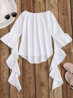 Dramatic Bell Sleeve Off The Shoulder Top - White L
