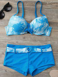 Tie-Dyed Underwire Tied Bikini Bra With Boxers - Lake Blue S