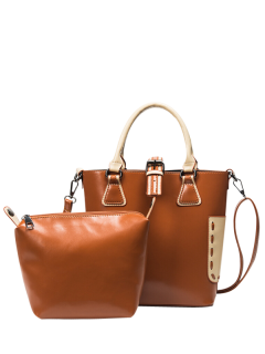 Buckle Strap Handbag And Clutch Bag - Brown