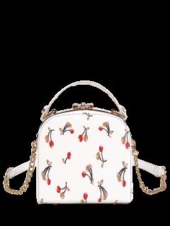 Cherry Print Metal Trim Handbag - White