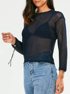 Tied Sheer Top - Bleu Violet M