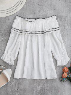 Aus Der Schulter Ruffle Bestickte Bluse - Weiß