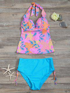 High Waisted Paisley Runched Tankini - Lake Blue S