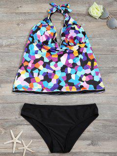 Halter Colorful Geometric Print Tankini Set - Black Xl