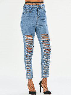 Tapered Distressed Jeans - Denim Blue L