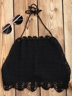 Halter Crochet Crop Top - Black