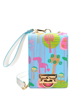 Cartoon Print Chains Crossbody Bag - Light Blue