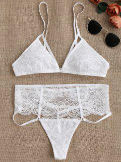 Cut Out High Waisted Banded Lace Bra Set - White S