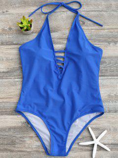 Strappy Halter One Piece Swimwear - Blue Xl