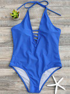 Strappy Halter One Piece Swimwear - Blue S