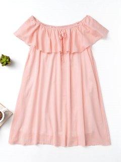 Rüschen Schulterfrei Kleid - Pink S