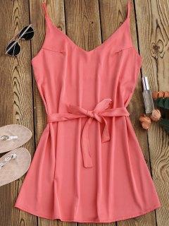 Vestido Con Tirante Fino De Satén Con Cinturón - Rosa Profundo S