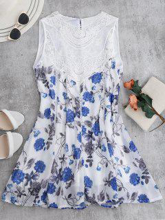 Sleeveless Floral Lace Panel Chiffon Dress - White Xl