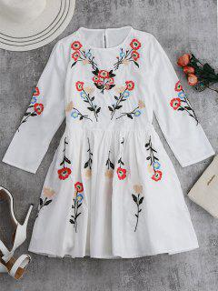 Floral Flowing Tunic Dress And Tank Top - White S