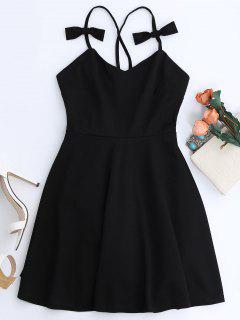 Bowknot Slip Skater Backless Dress - Black M