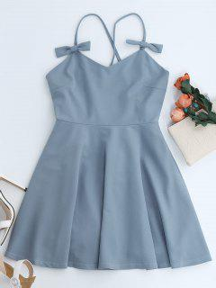 Bowknot Slip Skater Backless Dress - Light Blue S