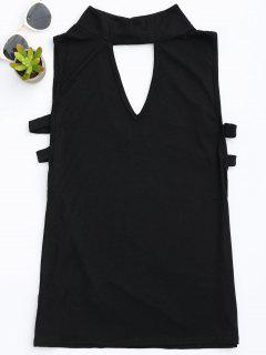 Stand Collar Armhole Cut Out Tank Top - Black S