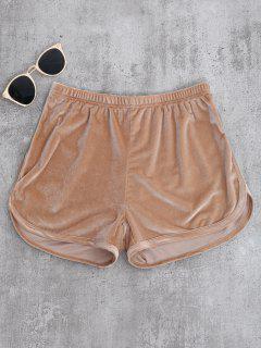Sportliche Shorts Aus Samt - Khaki S