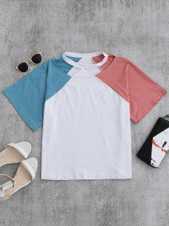 Color Block Cold Shoulder Oversized Tee - Pink