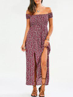 Tiny Floral Off The Shoulder Slit Dress - Floral M