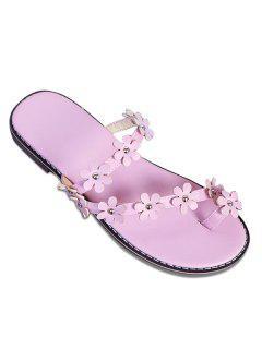 Flat Heel Toe Ring Slippers - Light Purple 38