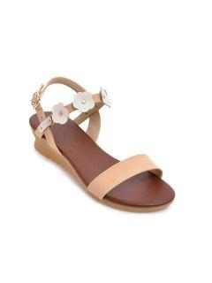 Faux Leather Wedge Heel Sandals - White 39
