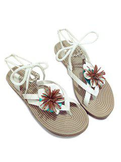 Beads Tie Up Flower Sandals - White 39