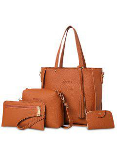 4 Pieces Tassel Tote Bag Set - Brown