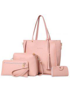4 Piezas De Borla Tote Bag Set - Rosa