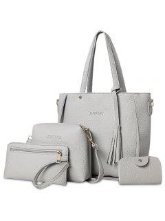 4 Pieces Tassel Tote Bag Set - Gray