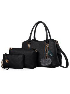 Pom Pom Pendant 3 Pieces Handbag Set - Black