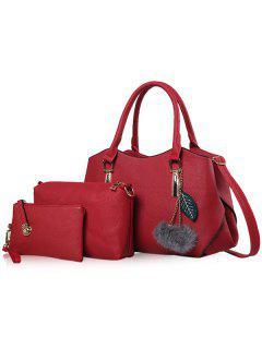 Pom Pom Pendant 3 Pieces Handbag Set - Red