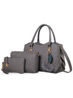 Pom Pom Pendant 3 Pieces Handbag Set - Gray