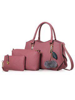 Pom Pom Pendant 3 Pieces Handbag Set - Pink