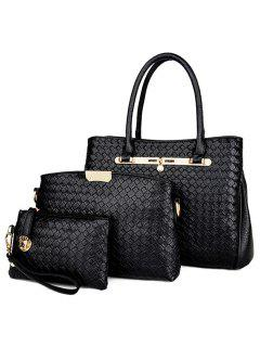 3 Pieces Faux Leather Woven Handbag Set - Black
