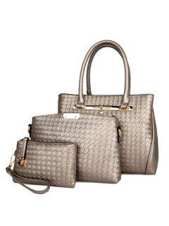 3 Pieces Faux Leather Woven Handbag Set - Champagne Gold