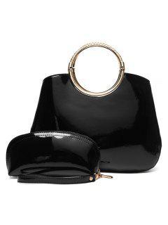 2 Pieces Patent Leather Handbag Set - Black