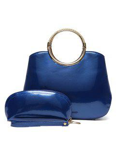 2 Pieces Patent Leather Handbag Set - Blue