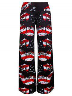 Wide Leg American Flag Print Pants - Noir 2xl