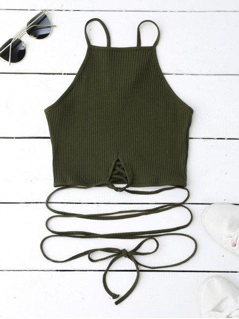 women Spaghetti Straps Strappy Tank Top - BLACKISH GREEN M Mobile