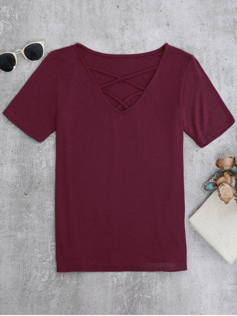 womens Strappy T-Shirt - BURGUNDY S Mobile
