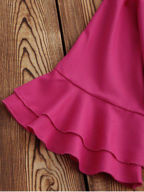 fancy Frilled Sleeve Mini Shift Dress - ROSE MADDER M Mobile