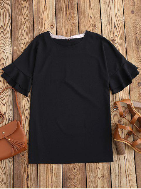 Frilled Sleeve Mini Shift Kleid - Schwarz L Mobile